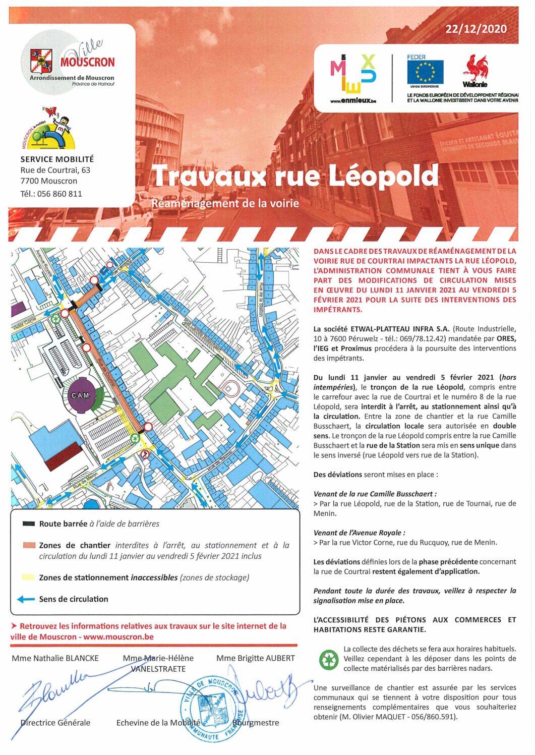 Modification du sens de circulation dans la rue Léopold du 11/01 au 05/02